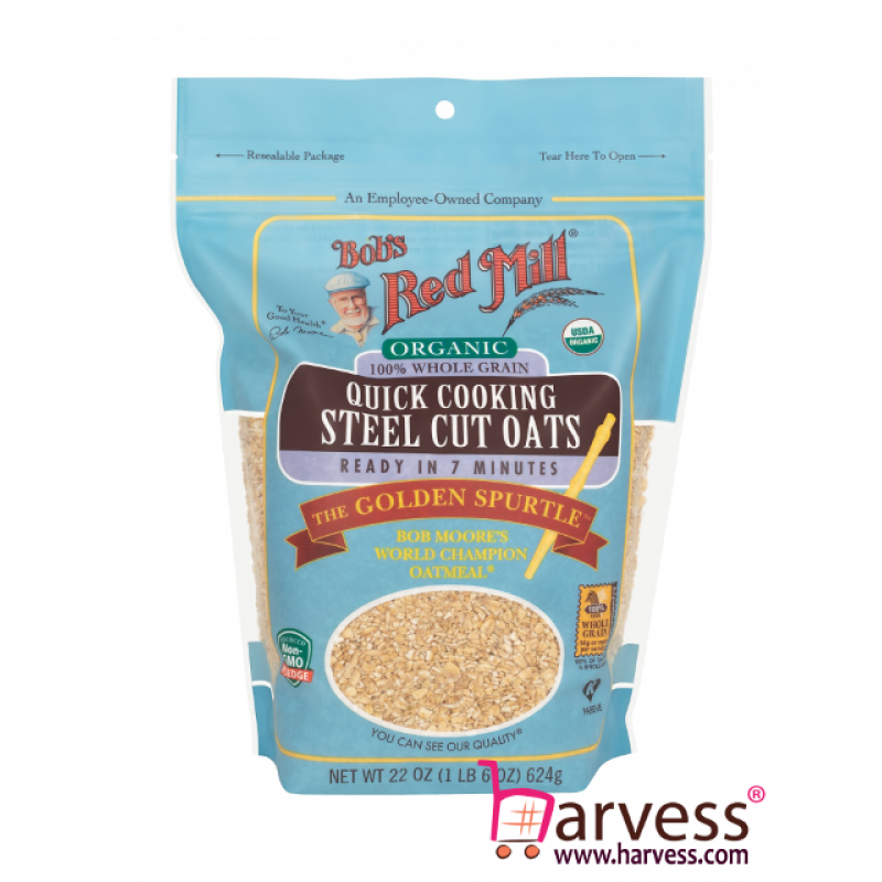 BOB'S RED MILL Organic Quick Cooking Steel Cut Oats (624g)