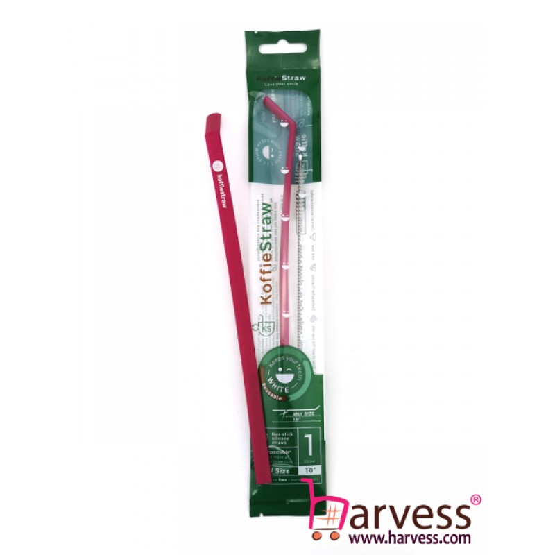 """KOFFIESTRAW - Single Pack: Plum 10"""" with Brush (In Home-Compostable Packaging)"""