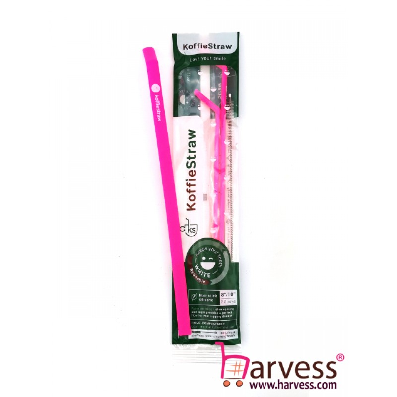 """KOFFIESTRAW - 2 Pack: Pink 10"""" + Pink 7"""" with Brush (In Home-Compostable Packaging)"""