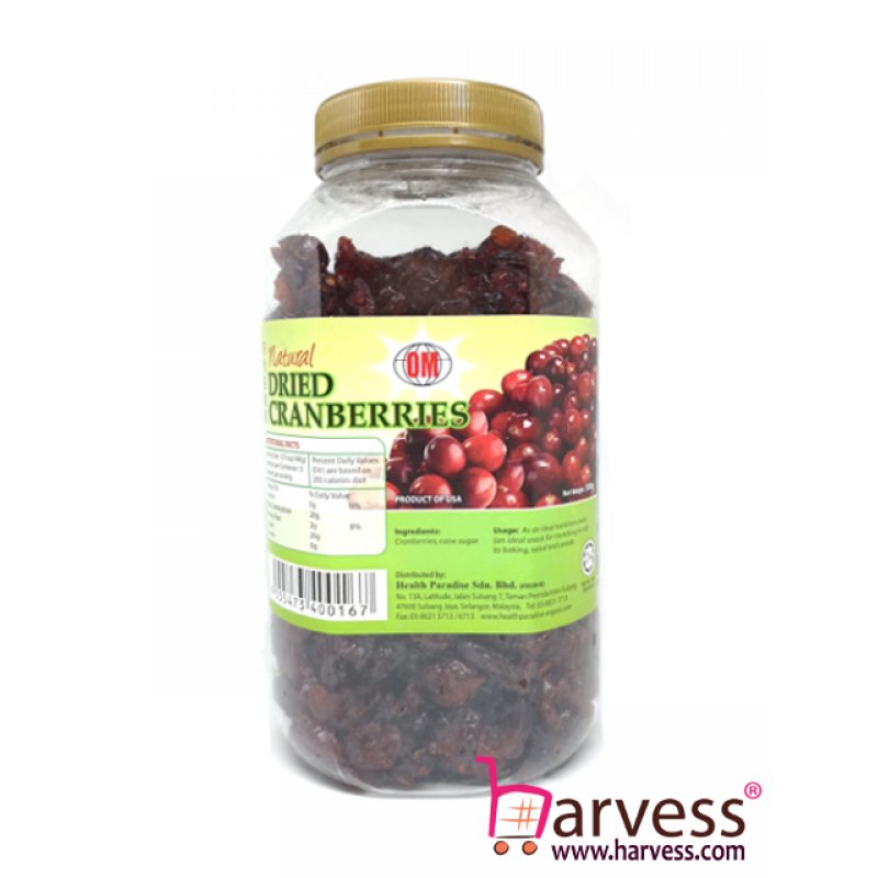 OM Natural Dried Cranberries (500g)
