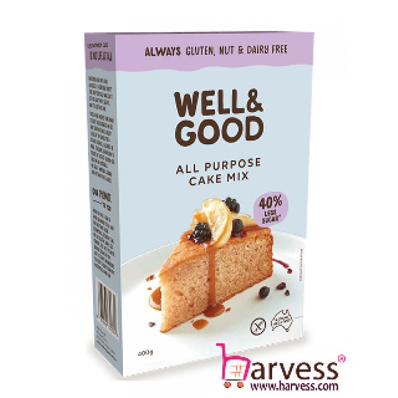 WELL & GOOD All Purpose Cake Mix, Gluten, Nut & Dairy Free (400g)